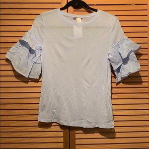 HM blue ruffled sleeve cotton shirt